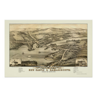New Castle & Damariscotta, ME Panoramic Map - 1878 Poster