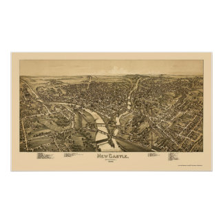 New Castle, PA Panoramic Map - 1896 Poster