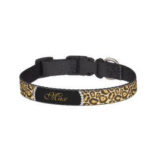 *NEW* Chic Leopard Print Pearl Name Monogram Pet Collar