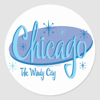 NEW-Chicago-Retro Classic Round Sticker