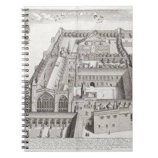 New College, Oxford, from 'Oxonia Illustrata', pub Note Book