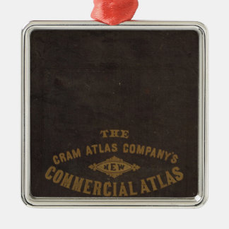New commercial atlas, United States Square Metal Christmas Ornament
