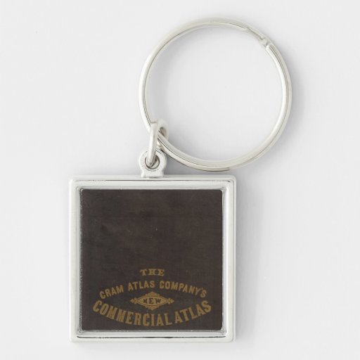 New commercial atlas, United States Silver-Colored Square Keychain