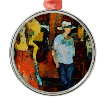New cowgirl metal ornament