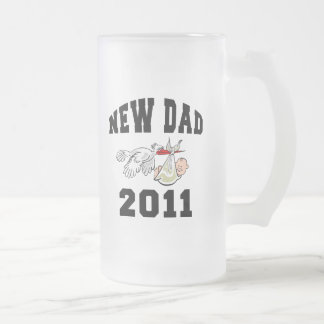 New Dad 2011 Frosted Glass Beer Mug