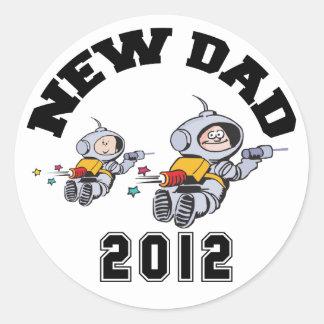 New Dad 2012 Round Stickers