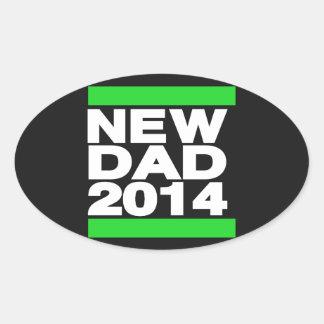 New Dad 2014 Green Oval Sticker