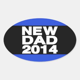 New Dad 2014 Lg Blue Oval Sticker