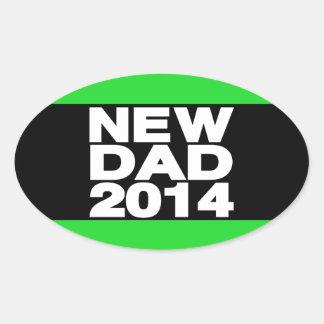 New Dad 2014 Lg Green Oval Sticker