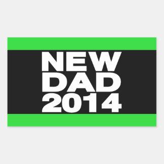 New Dad 2014 Lg Green Rectangular Sticker