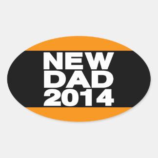 New Dad 2014 Lg Orange Oval Sticker