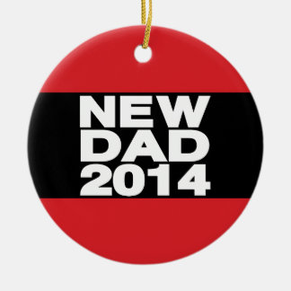 New Dad 2014 Lg Red Ceramic Ornament