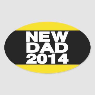 New Dad 2014 Lg Yellow Oval Sticker