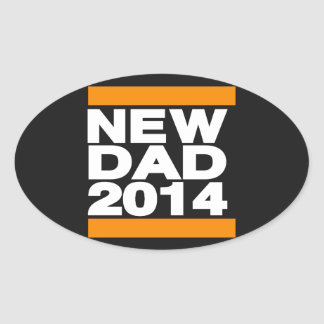 New Dad 2014 Orange Oval Sticker