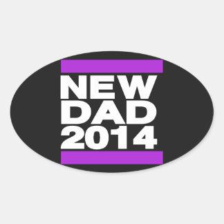 New Dad 2014 Purple Oval Sticker