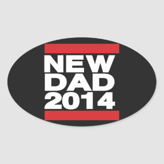 New Dad 2014 Red Oval Sticker