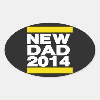 New Dad 2014 Yellow Oval Sticker