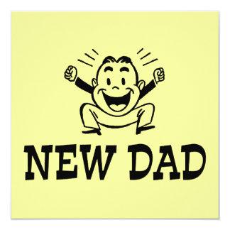 """New Dad 5.25"""" Square Invitation Card"""