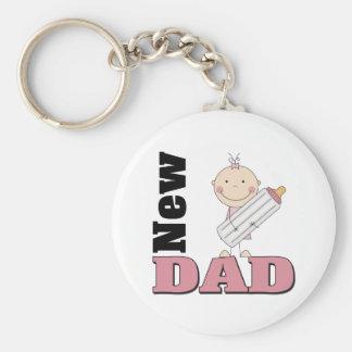 New Dad Basic Round Button Keychain