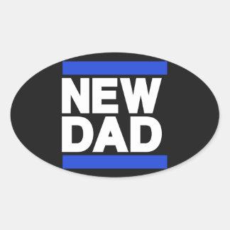 New Dad Blue Oval Sticker