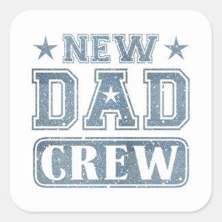 New Dad Crew Denim Texture Square Sticker