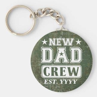New Dad Crew (Est. Year Customizable) Basic Round Button Keychain