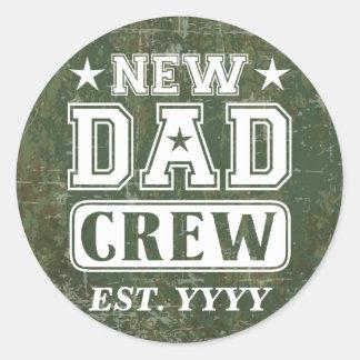 New Dad Crew (Est. Year Customizable) Classic Round Sticker