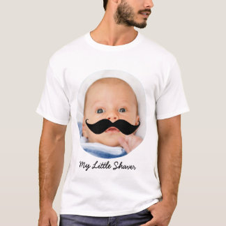 New Dad Funny Little Shaver Mustache Custom Photo T-Shirt