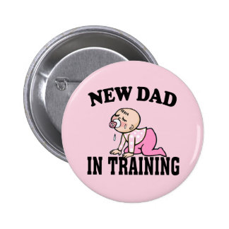 New Dad Girl Pinback Buttons