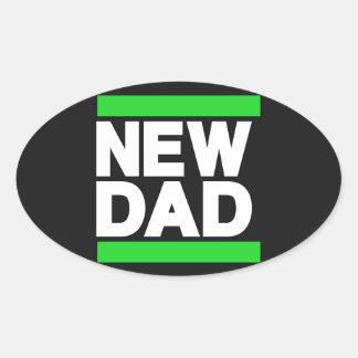 New Dad Green Oval Sticker