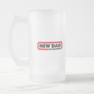 New Dad in Training Frosted Glass Beer Mug