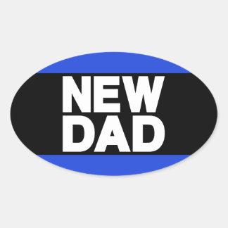 New Dad Lg Blue Oval Sticker
