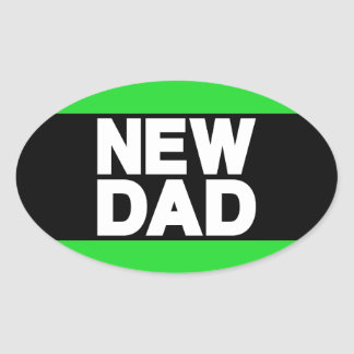 New Dad Lg Green Oval Sticker