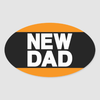 New Dad Lg Orange Oval Sticker