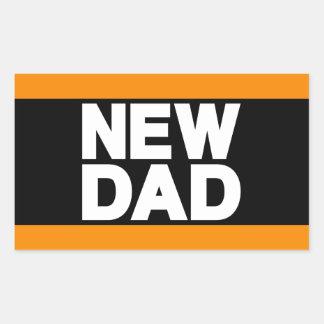 New Dad Lg Orange Rectangular Sticker