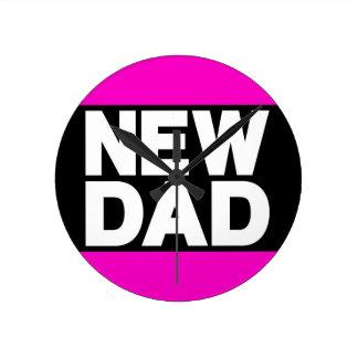 New Dad Lg Pink Round Clock