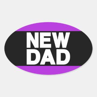 New Dad Lg Purple Oval Sticker
