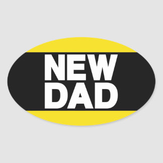 New Dad Lg Yellow Oval Sticker
