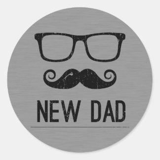 New Dad Mustache Nerd Glass Hipster Classic Round Sticker