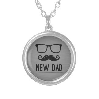 New Dad Mustache Nerd Glass Hipster Round Pendant Necklace