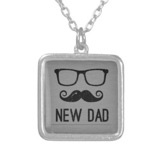 New Dad Mustache Nerd Glass Hipster Square Pendant Necklace