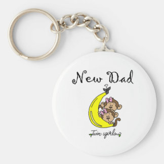 New Dad of Twin Girls Tshirts and Gifts Keychain