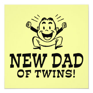 """New Dad of Twins 5.25"""" Square Invitation Card"""