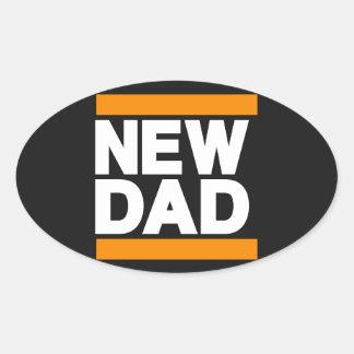 New Dad Orange Oval Sticker