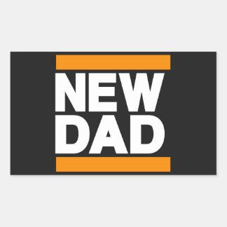 New Dad Orange Rectangular Sticker