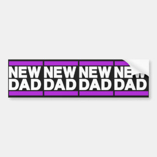 New Dad Purple Bumper Sticker