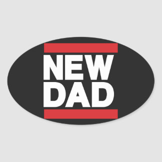 New Dad Red Oval Sticker