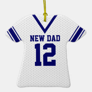 New Dad Sport Jersey with Photo Double-Sided T-Shirt Ceramic Christmas Ornament