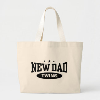 New Dad Twins Large Tote Bag