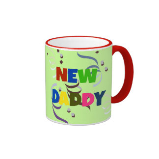 """NEW DADDY"" in colorful lettering Ringer Mug"